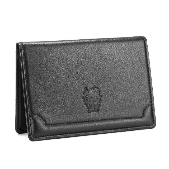 【DAKS】經典家徽壓紋軟皮革證件名片夾(黑色)