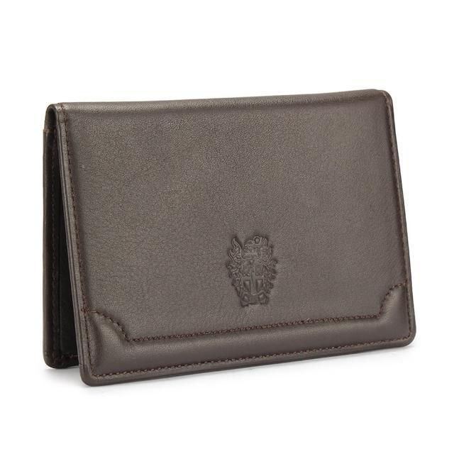 【DAKS】經典家徽壓紋軟皮革證件名片夾(深咖啡)