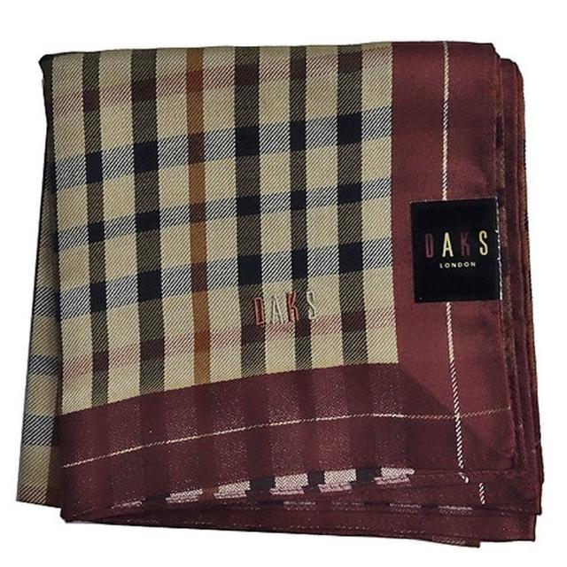 【DAKS】經典格紋刺繡帕領巾(酒紅色)