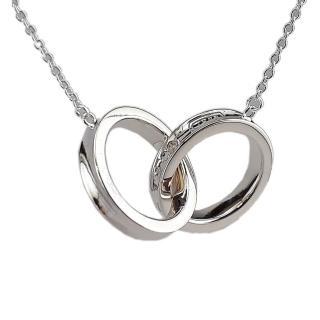 【Tiffany&Co. 蒂芙尼】1837系列925純銀雙戒環墜飾項鍊