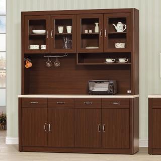【AS】奧德莉胡桃5.3尺仿石紋碗盤櫃全組-160x43x203cm