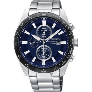 【SEIKO 精工】Criteria 太陽能計時碼錶-藍x銀/43mm(V176-0AV0B  SSC647P1)