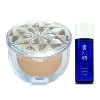 【KOSE 高絲】雪肌精CC絲絨雪粉餅8g-含粉盒 - 贈雪肌精淨透潔顏油N 33ml(正統公司貨)