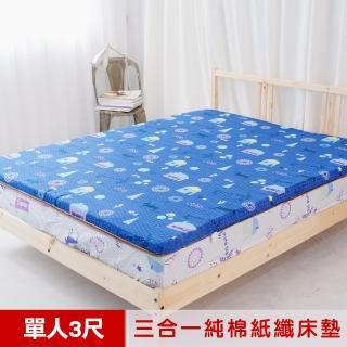【米夢家居】夢想家園-MIT冬夏兩用純棉+紙纖三合一高支撐記憶床墊(單人3尺-深夢藍)