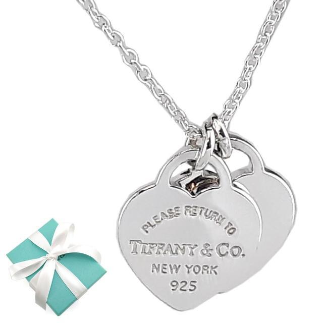 【Tiffany&Co. 蒂芙尼】心心相映迷你吊牌墜飾925純銀項鍊