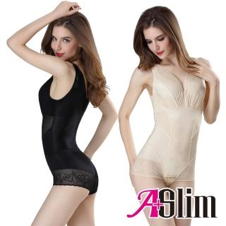 【A+Slim】蠶絲能量石燃脂無痕收腹連身雕塑衣(2件組)