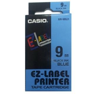 【CASIO 卡西歐】標籤機專用色帶-9mm藍底黑字(XR-9BU1)