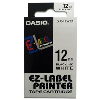 【CASIO 卡西歐】標籤機專用色帶-12mm白底黑字(XR-12WE1)