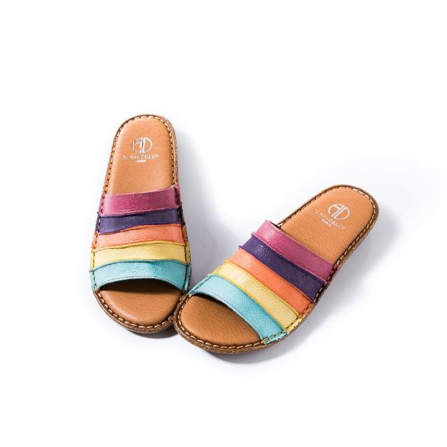 【ALAIN DELON 亞蘭德倫】全真皮簡約舒適拖鞋A88303(1色 彩色)