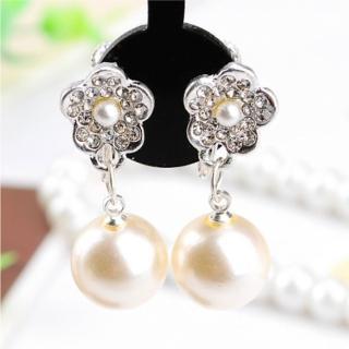 【Angel】美人魚水鑽花朵珍珠水滴鋯石無耳洞夾式耳環(白金色)