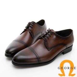 【GEORGE 喬治皮鞋】商務系列 真皮手工縫線紳士皮鞋-咖