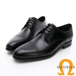 【GEORGE 喬治皮鞋】商務系列 真皮手工縫線紳士皮鞋-黑