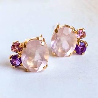 【me.luxe】K10黃K玫瑰石英紫晶粉碧璽耳環(繽紛的彩寶系列)