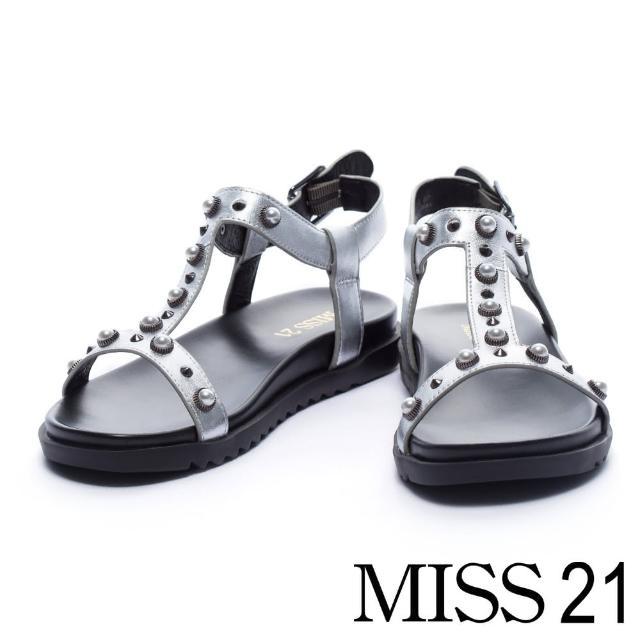 【MISS 21】摩登個性珍珠鉚釘釦飾造型平底涼鞋(銀)