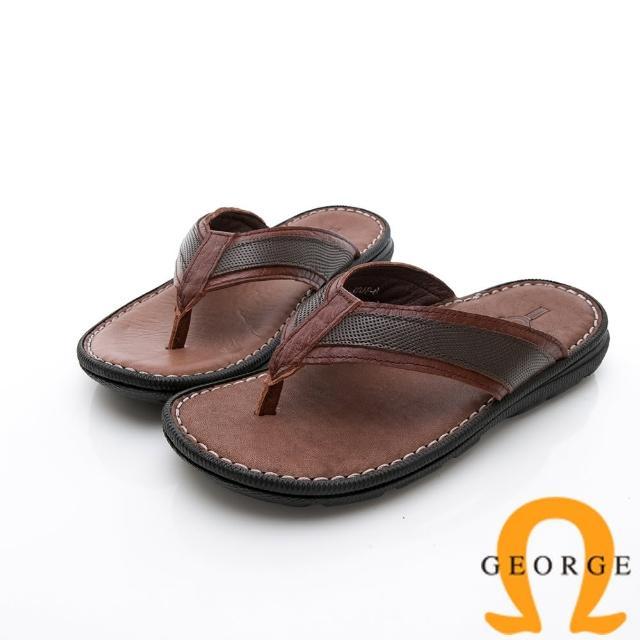 【GEORGE 喬治皮鞋】休憩系列 真皮手縫涼鞋拖鞋-咖
