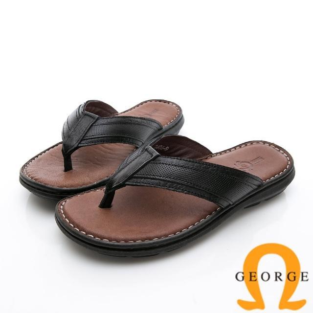 【GEORGE 喬治皮鞋】休憩系列 真皮手縫涼鞋拖鞋-黑