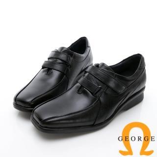 【GEORGE 喬治皮鞋】商務系列 雙帶素面紳士方頭皮鞋-黑