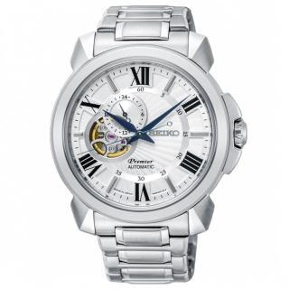 【SEIKO 精工】Premier 開芯經典機械腕錶-銀x白(4R39-00S0S/SSA369J1)