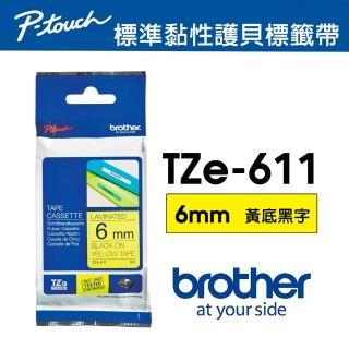 【Brother】TZe-611 護貝標籤帶 6mm 黃底黑字(速達)