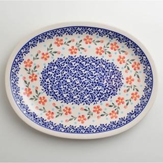 【波蘭陶】藍印紅花系列 橢圓形餐盤 29cm 波蘭手工製