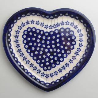 【波蘭陶】藏青小卉系列 愛心造型餐盤  波蘭手工製