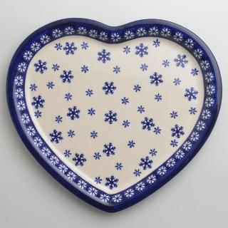 【波蘭陶】雪白冰花系列 愛心造型餐盤 波蘭手工製