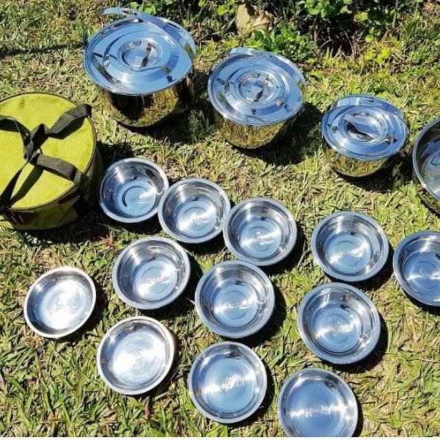 【May Shop】6~7人戶外炊具野營不銹鋼鍋具套裝