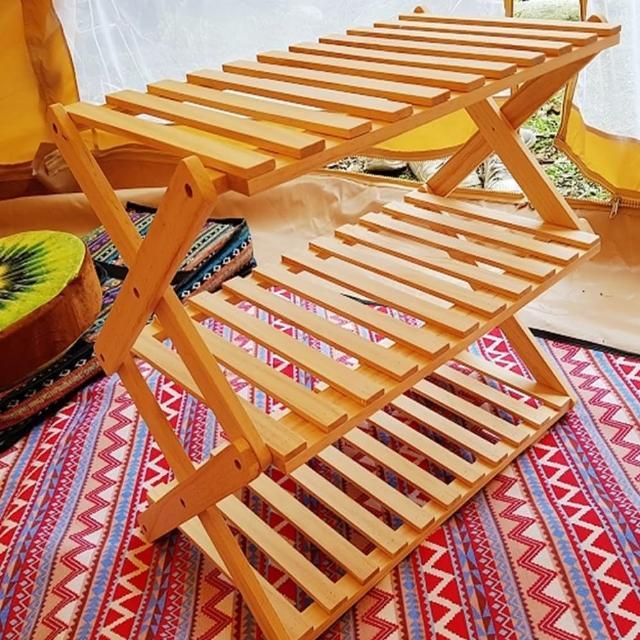 【May Shop】新款 露營 摺疊 便攜 竹子三層架 落地花架(含收納袋)
