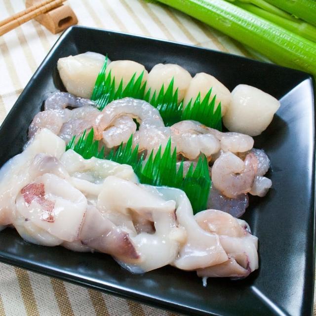 【鮮食家】任選799 簡單生鮮 三鮮盤-白蝦仁、腰子貝、透抽圈(150g/包)