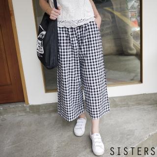 【SISTERS】黑白格鬆緊腰寬褲褲裙(F)