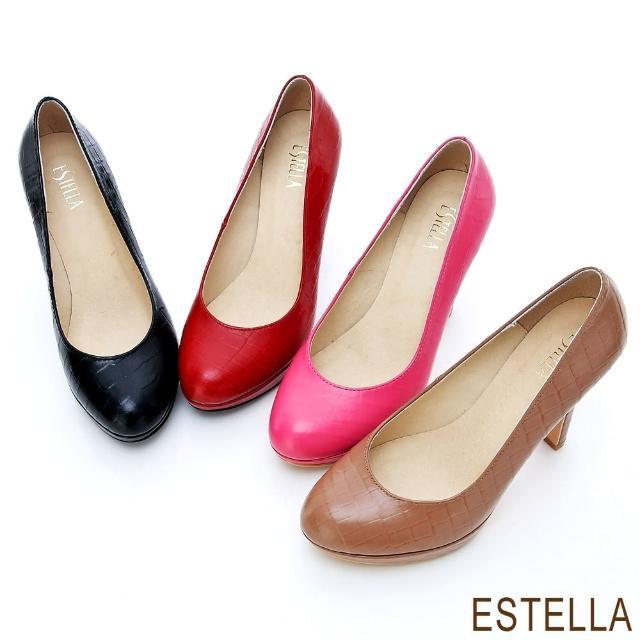 【ESTELLA】MIT牛皮鱷魚紋厚底高跟鞋(共四色)