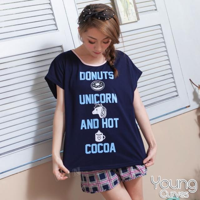 睡衣 彈性棉質短袖兩件式睡衣(C01-100561深藍獨角獸)Young Curves
