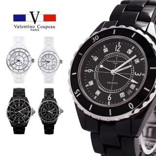 【Valentino Coupeau】范倫鐵諾 古柏  經典晶鑽全陶瓷藍寶石水晶面男女款手錶