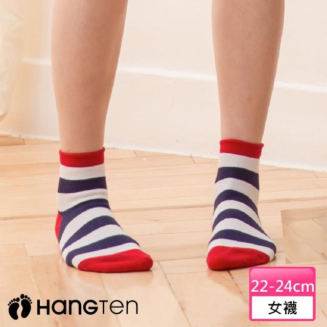 【HANG TEN】寬條紋二分之一女襪2雙入組_灰綠(HT-022-49)