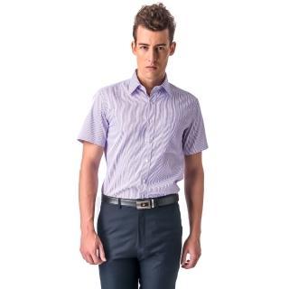 【金安德森】藍色條紋窄版短袖襯衫