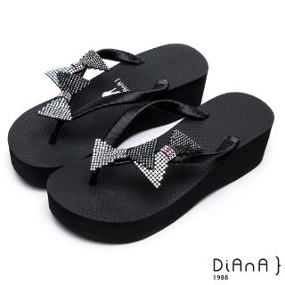 【DIANA】夏日甜美--水鑽蝴蝶結立體飾片緞面夾腳拖鞋(黑)