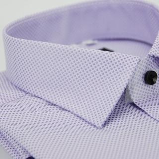 ~金安德森~紫色方格紋黑釦窄版長袖襯衫