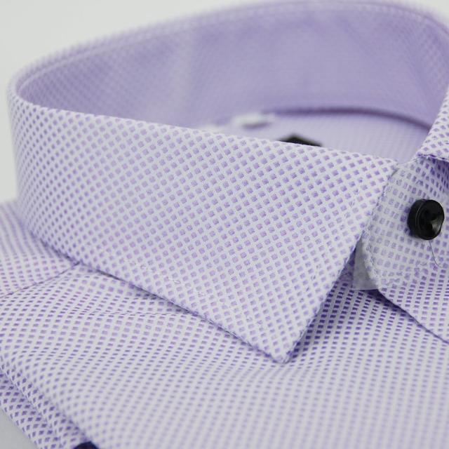 【金安德森】紫色方格紋黑釦窄版長袖襯衫