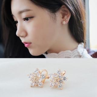 【梨花HaNA】韓國無耳洞寧靜如雪花輕飄鋯石耳環耳夾
