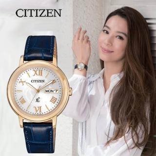 【CITIZEN 星辰】XC 光動能薔薇日曆女錶-玫瑰金框x藍/32mm(EW2422-21A)