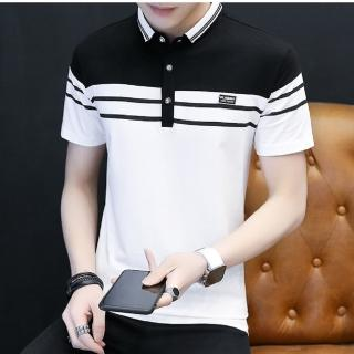【NBL】T0601韓版橫條短袖POLO衫(運動休閒短袖POLO衫)