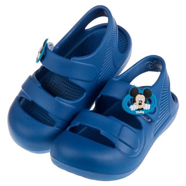 【布布童鞋】Disney迪士尼米奇藍色超輕量兒童護趾涼鞋(D8D155B)