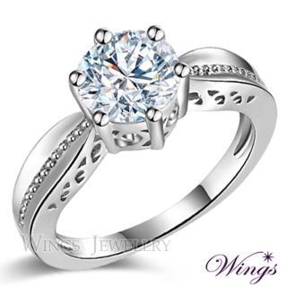 【WINGS】永恆之約 頂級八心八箭方晶鋯石1.5克拉擬真鑽戒(女戒 鑽戒 擬真鑽)