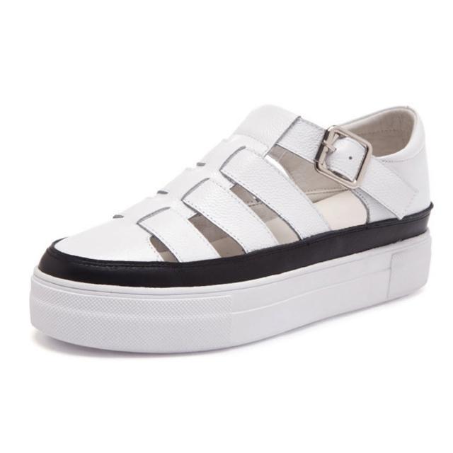 【Taroko】时尚宽版全真牛皮厚底休闲凉鞋(白色全尺码)