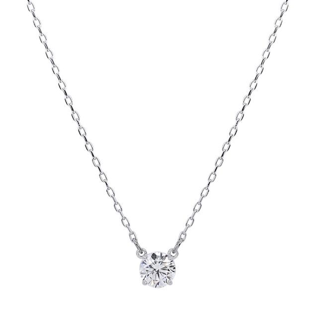 【SWAROVSKI 施華洛世奇】璀璨圓形裸鑽銀色項鍊(5408442)