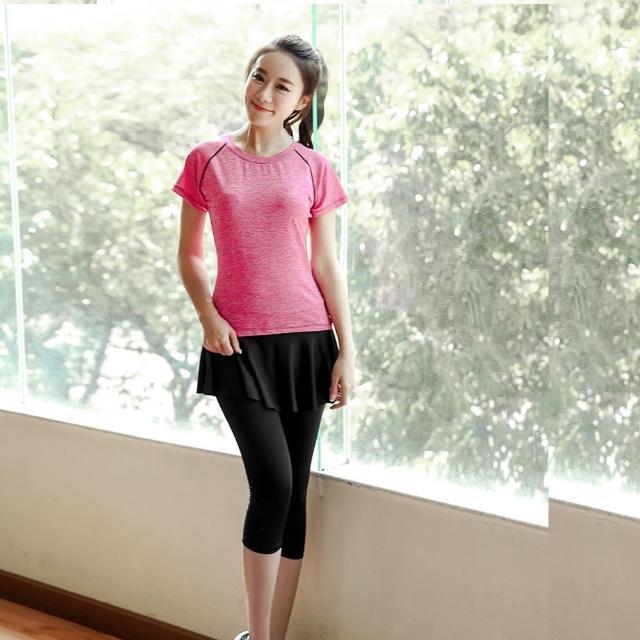 【狐狸姬】娜美自然七分褲假二件式裙式運動褲有加大(單褲M-XL)