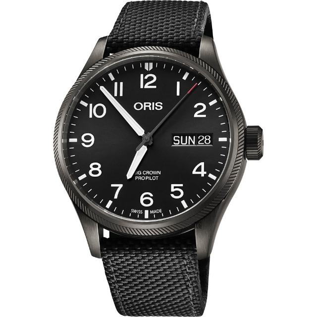 【ORIS 豪利時】Big Crown 日曆星期機械錶-黑/45mm(0175276984264-0752215GFC)