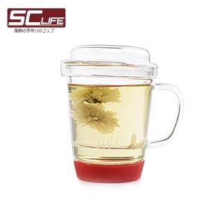 【SC Life】三件式玻璃泡茶杯(紅色)