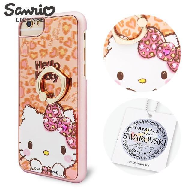 【三丽鸥】Kitty iPhone8/7/6s/6 4.7吋 施华彩钻镜面指环扣手机壳(豹纹凯蒂)