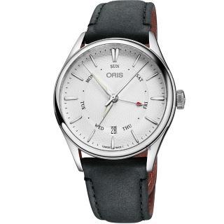 【ORIS 豪利時】Artelier 指針式日曆星期機械錶-銀x黑色錶帶/40mm(0175577424051-0752134FC)